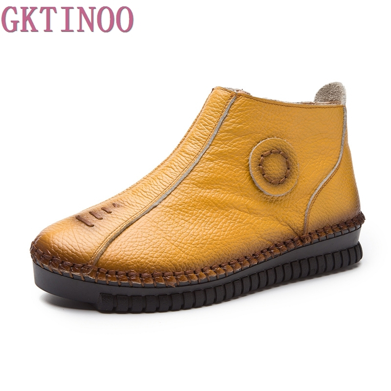 New Autumn Winter Genuine Leather Womens Shoes 3 Colors Zip Women Ankle Boots Handmade Flat Boots Woman Plus Size 35-43<br>