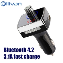 OLLIVAN Bluetooth 4.2 USB Car Charger 3.1A Fast Charging Music Player Car Charger For Iphone 6 6S 7plus Samsung HTC Xiaomi Meizu(China)