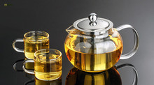 1SET Heat Resistant Glass Tea Pot Flower Tea Set Puer kettle Coffee Teapot With Infuser 1PC teapot+2pcs Cup  J1032