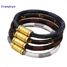 Hot Sale New Fashion Luxury Brand Jewelry 316L Stainless Steel Bracelets Bangles pulseiras Leather Bracelets For Women/Men Gift