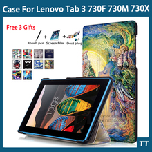 "High quality case For Lenovo Tab 3 730F 730M 730X 7""Tablet PC case cover + free 3 gifts"