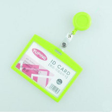 1pcs Green Color Retractable ID Badge Reel For Ski Pass ID Bus Card Case Badge Holder Horizontal Style Office School Supplies(China)