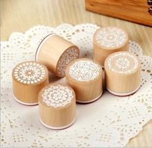 Round wooden stamps Lace patern stamp Diary Photo Album Christmas Decoration Supplies/Card Making