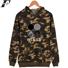 LUCKYFRIDAYF Kpop BTS Camouflage Sleeve Letters Sweatshirt Women Hoodies Korean Wings Hoodies Women Winter Cotton Pullovers