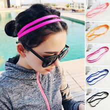 Double Elastic Headband New Softball Anti-slip Silicone Rubber Hair Bands Women Girl Bandage On Head For Hair Scrunchy B1(China)
