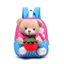 Kids School Bags Cartoon Bear Dolls Applique Canvas Backpack Mini Baby Toddler Book Bag Kindergarten Rucksacks Mochila Infantil(China)