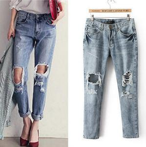 Free shipping Washed hole pencil jeans woman fashion Loose denim trousersОдежда и ак�е��уары<br><br><br>Aliexpress