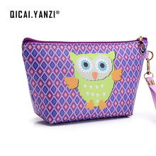 qicaiyanzi 2017 Owl Handmade Cosmetic Bag Toiletry Animal Cartoon Travel Zipper Leather Makeup Waterproof Wash Organizer P459(China)