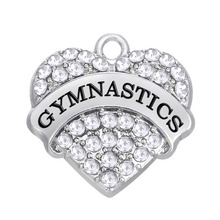 Lemegeton (2 pieces a lot) Cheerleading gifts GYMNASTICS  heart metal stones and crystals charms