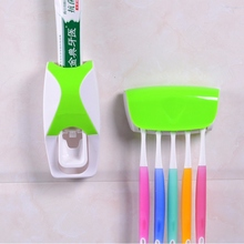 Toothbrush Holder Automatic Toothpaste Dispenser Bathroom Shelves Plastic Wall Mount Stand Squeeze Toothpaste Toothbrush Rack(China)