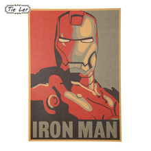 1 PCS Retro Style Comic Iron Man Avatar Poster Decorative Painting Kraft Paper Posters Children Bedroom Adornment Wall Sticker(China)