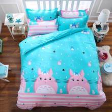 3D Totoro Cat Bedding Sets Blue Pink Single/Twin/Full/Queen Sizes Duvet Cover Kid/Girls Room Decor 4/5pc Cotton Bedspreads 400TC