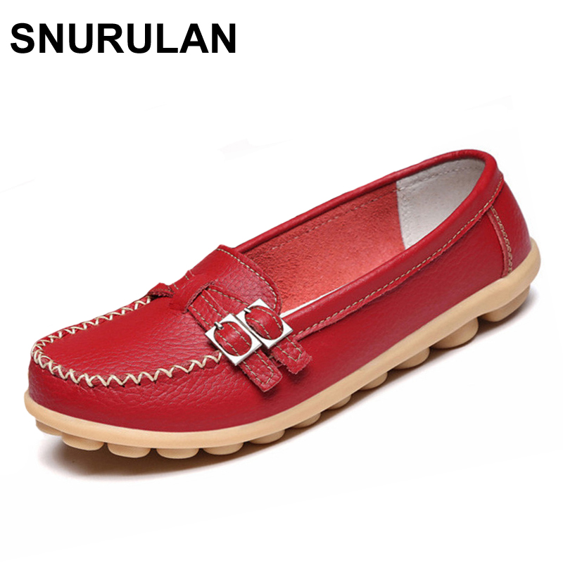 SNURULAN Soft Genuine Leather Shoes Women Slip On Woman Loafers Moccasins Female Flats Casual Women's Buckle Boat Shoe Plush (China)