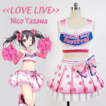 Japanese Anime LoveLive Pink Nico Yazawa Cosplay Costume Lolita Cheerleading Uniforms Plus Size free shipping customized Costume