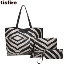 Tisfire brand women tote bag leather top-handle bags 3 pcs shoulder bags+envelope clutch purse Zebra partten handbag shopper bag(China)