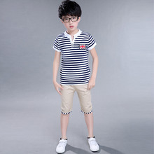 Children's Clothing 2017 Summer New Middle and Large Children Boy Cotton T-shirt Short Sleeve Two-piece