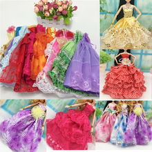 10Pcs/set Handmake Princess Dress with Lace for Barbies Colorful Strapless Lace Doll Wedding Dress Accessories
