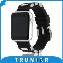 22mm 24mm Silicone Rubber Watchband Carved Tang Buckle Strap 38mm 42mm iWatch Apple Watch Wrist Belt Bracelet Black - TRUMiRR Store store
