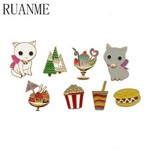 Fashion jewelry, clothes kitten dessert jacket micro chapter cartoon animal brooches accessories sell like hot cakes(China)