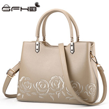 New Women Handbag Embroidered Flower Tote Bag Michael Handbags Fashion Style Leather Zipper Design Shoulder Bags Sac A Main Luxe