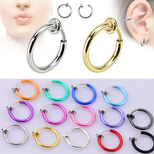 2Piece Free shipping Alloy Hoop Nose Rings Body Piercing Jewelry Fake Nose Ring Clip On Earrings Rose Gold Tragus Helix