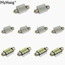 Car-Styling Accessories  36mm 39mm 6SMD 5050 LED White CANBUS Car License Plate Lights Bulb Reading Dome Lamp Door Light 10pcs