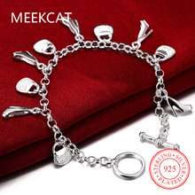 MEEKCAT Women's jewelry 925 stamped silver plated Handbag and High-Heeled Shoes ten Charms bracelets bangles Pulseiras de Prata
