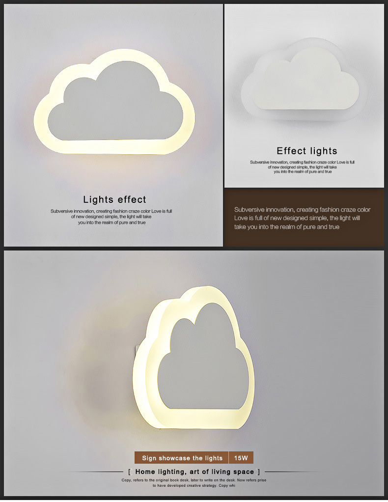 Modern personalized clouds Shape Led Wall Lamp Brief Bedroom Bedside Lamp Thick Acrylic Lamps Child Real Lighting<br><br>Aliexpress