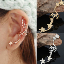 1Pcs Punk Gold Star Ear Wrap Cuff Earrings Fashion Jewelry Women Star Ear Bone Clip Earrings On Left Ear No Pierced Jewelry