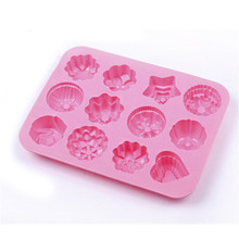 12 holes baking tools silicone candle cake mold star grass flower shaped heart fondant flower chocolate molds for soap(China)