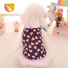 DOGGYZSTYLE Summer Cute Dog Vest Heart Print Small Animals Dog Tshirt Teddy Dog Puppy Clothes Pet Shirt New Arrival(China)