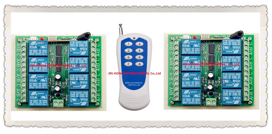 Hot Sales DC 12V 10A  8CH 315/433 Mhz Wireless RF Remote Control Switch 1pcs Transmitter+ 2pcs Receiver<br>