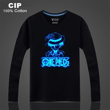 CIP 100% Cotton Rock Punk Hip Hop Neon Print Party Club Night Light Punk Tops Tees ONE PIECE LUFFY Luminous T-shirt Boys Kids T