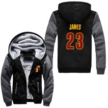 2016 JAMES#23 IRVING#2 LOVE#0 Logo Hoodies Zip Up Printing Pattern Coats Super Warm Thicken Fleece Men's Coat