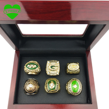 6pcs/set Free Shipping High Quality 1961 1965 1966 1967 1996 2010 Green Bay Packers Championship Ring Set for Gift ring