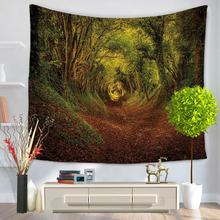 150cmx130cm Lush Forest Tapestry Tree Printed Tapestry Wall Rectangle Polyester Bedspread Yoga Mat Blanket Bed Table Cloth(China)