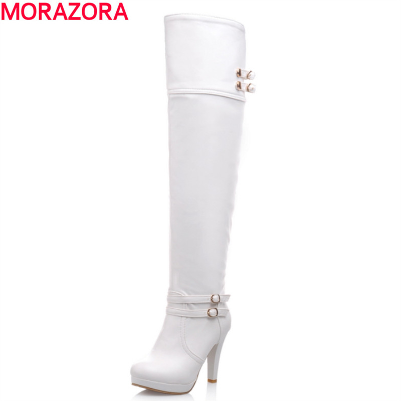 big size 33-43 2017 winter warm fashion over the knee boots high quality thick high heels round toe platform shoes woman<br><br>Aliexpress