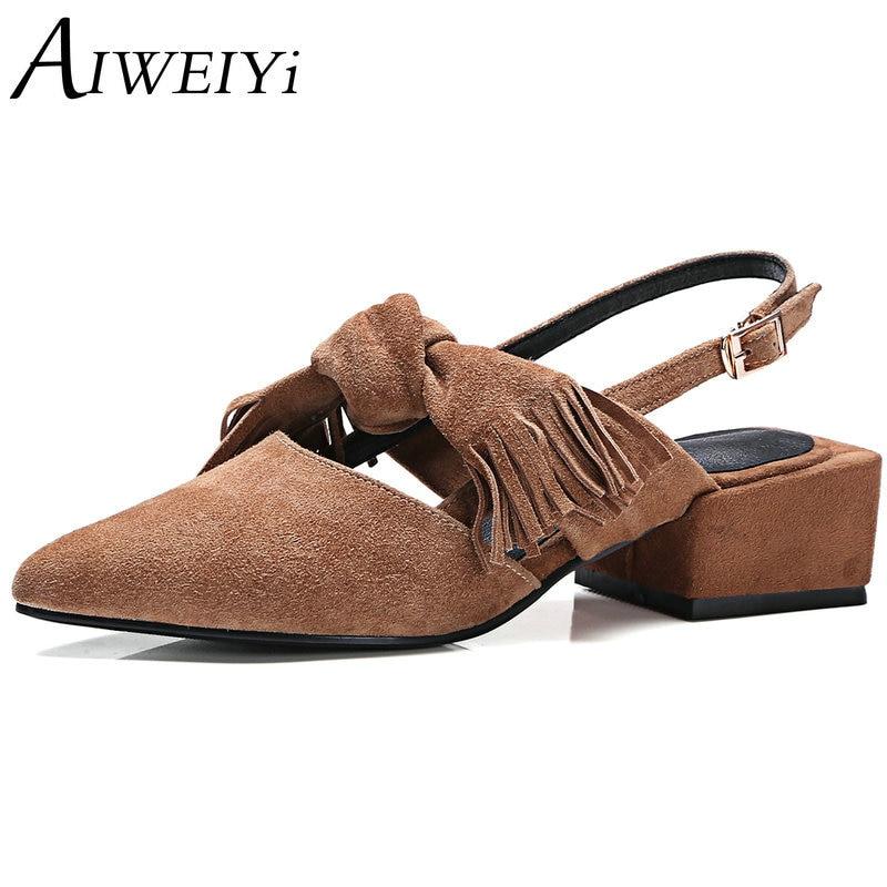 AIWEIYi Women Sandals Fashion Genuine Leather Platform High Heels Sweet Bow Slingbacks Summer Style Sandals Black Brown Shoes<br><br>Aliexpress