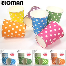 10PCS Colored Polka Dot Paper Cups Disposable cup for birthday summer garden party table accessories,10ct free shipping(China)