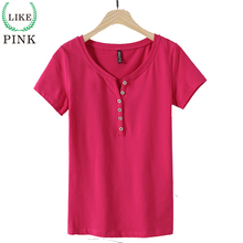LIKEPINK 2017 Summer Tops Women Casual T-shirts Cotton T Shirt Short Sleeve V Neck PINK Tee Shirt Femme King Queen Shirt M~3XL