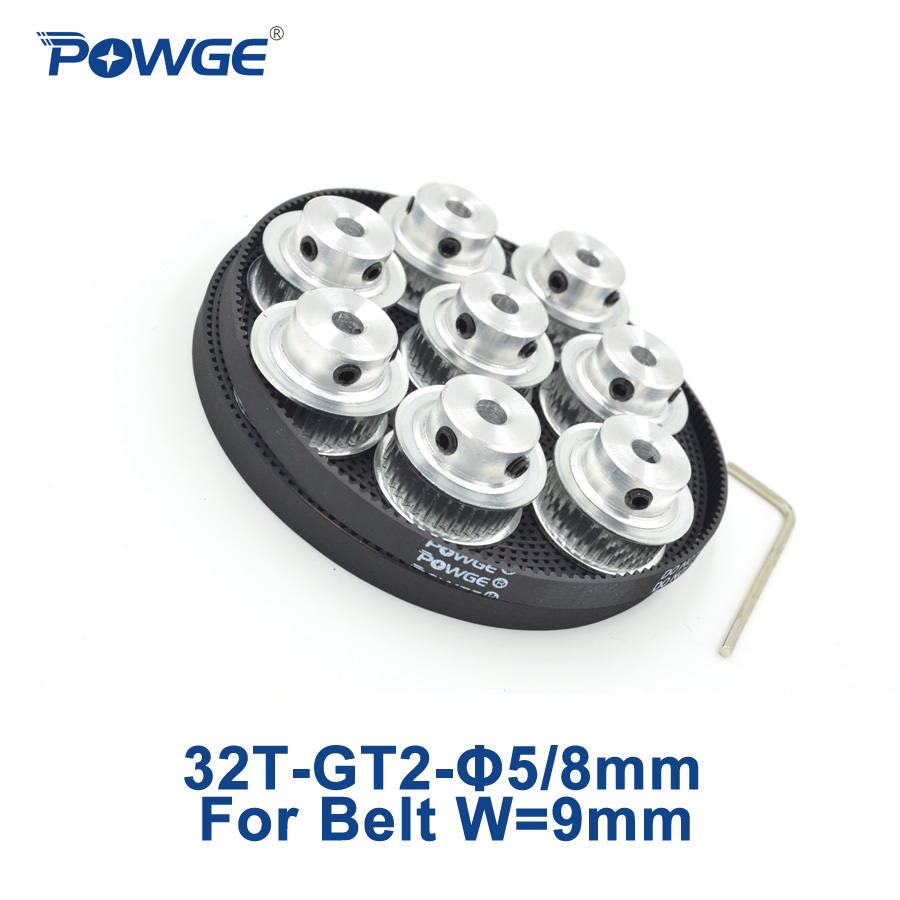 POWGE 8pcs 32 teeth GT2 Timing Pulley Bore 5/8mm + 5Meters width 9mm GT2 open Timing Belt 2GT pulley Small Backlash 32T 32Teeth<br><br>Aliexpress