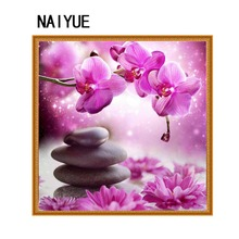 diy 5d diamond painting stone and pink orchid Diamond embroidery 3d diamond cross stitch crystal square diamond sets home decor