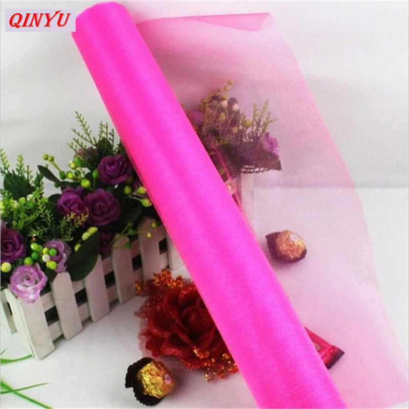 Tulle 5M 48CM Crystal Tulle Roll Organza Sheer Gauze DIY Girls Skirt Gift Wedding  Party 7478765b4ba7
