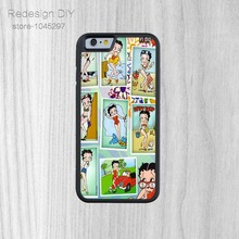 For iPhone 6 6s And 4 4s 5 5s 5c 6 plus Black plastic phone shell Details about Betty boop Cell Phone case(China)