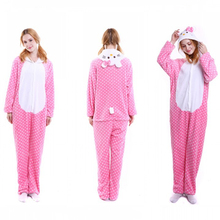 Hot Pajamas Animal Costume Unisex Adult Onesi*e Sleepwear Cosplay Pink Kitty Cat(China)
