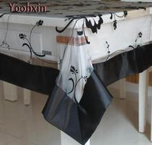 Modern black satin Tablecloth transparent lace square kitchen tea Table Cloth Cover towel placemat for Christmas Wedding Decor