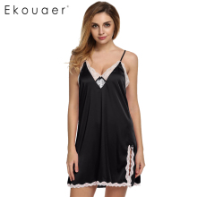 Ekouaer sleep dress Sexy Satin Sleepwear Silk Nightgown Women Nightdress Sexy Lingerie Plus Size S M L XL XXL Female Nightie(China)
