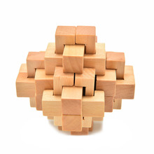 Chinese Kongming Luban Intelligence Educational Wooden Lock Child Kids Learning Puzzles 76*76*76mm Puzzle Toy Over 3 Years Old