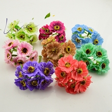6pcs/lot 14 colors Silk Cherry Blossoms Small Artificial Poppy Bouquet Wedding Decoration Mini Rose Flowers For DIY Scrapbooking