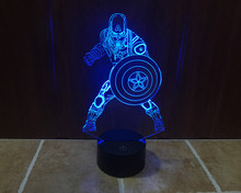 Movie Captain America Shield Figure 3D 7 Colors Change Acrylic table night light LED illusion Touch USB lamp Boy kids toys Gift
